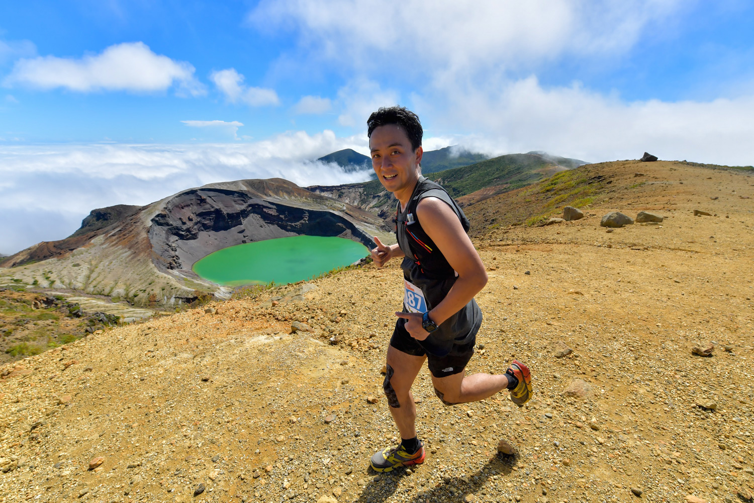 The green crater lake along the Zao 28K course, 2017 Skyrunning Asian Championships. ©2016WILLE Marketing Co Ltd