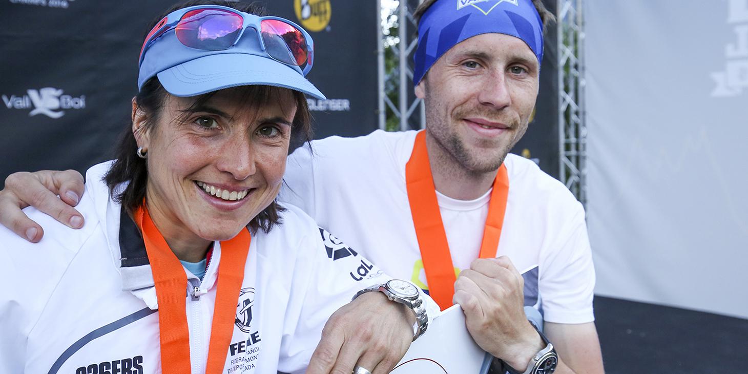 Maite Maiora and Stian Angermund, Combined World Champions and Alpina Watches prize winners. ©iancorless.com