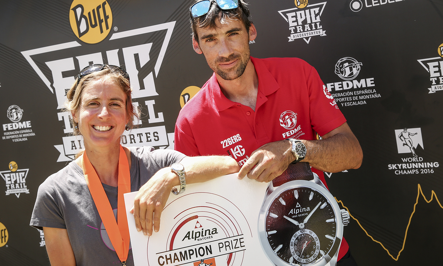 Caroline Chaverot and Luis Alberto Hernando, 2016 Skyrunning Ultra Champions and Alpina Watches prize winners. ©iancorless.com