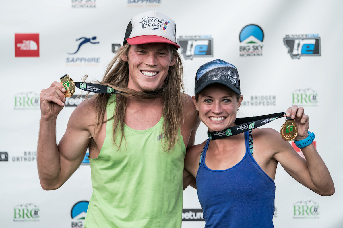 American Skyrunning Champions for the Ultra, Morgan Elliot and Brittany Peterson. ©iancorless.com / ISF